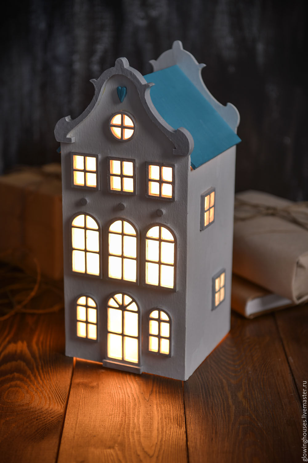 Lamps Handmade. Dutch Lamp   House With Turquoise Roof. Night Light. Light  House ...