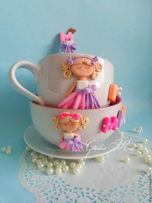 Кружки и чашки ручной работы. Ярмарка Мастеров - ручная работа. Купить Набор посуды для девочки. Handmade. Розовый, ложка с декором