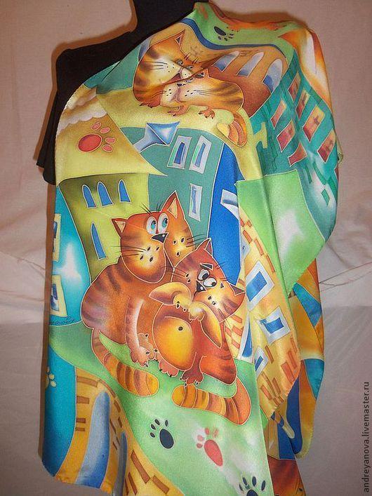 """Шарфы и шарфики ручной работы. Ярмарка Мастеров - ручная работа. Купить шарф-батик """"Рыжие коты"""". Handmade. Рисунок"""