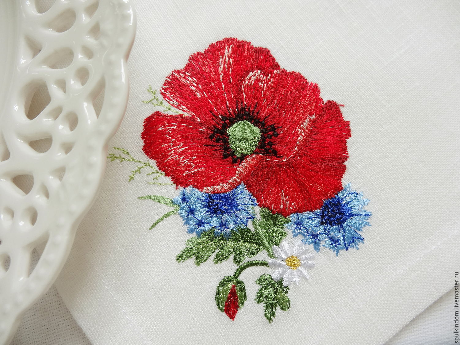 Napkin embroidered `poppy`  `Sulkin house` embroidery workshop