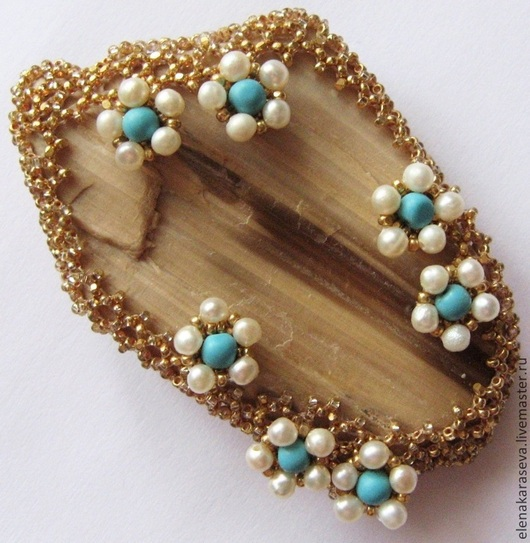 """Brooches handmade. Livemaster - handmade. Buy Brooch of the beads with a fossilized tree """"Gems"""".Exclusive brooch"""
