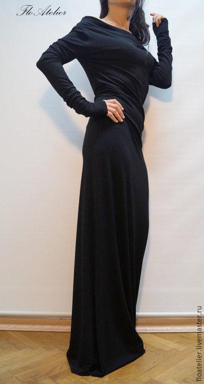 Платья ручной работы. Ярмарка Мастеров - ручная работа. Купить Длиннее платье МАХI с рукавами/Элегантное платье/F1314. Handmade. Черный, вискоза
