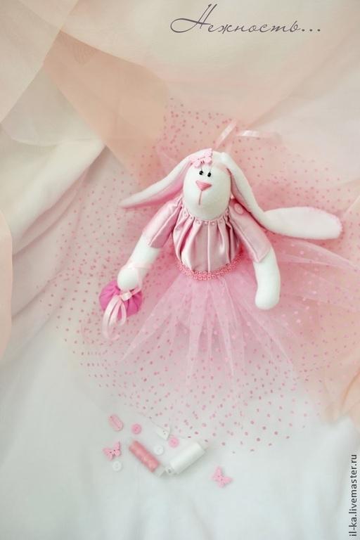 Интерьерная текстильная игрушка Зайка в розовом платье. Мастерская Ильи и Екатерины Небыковых Ил&Ка