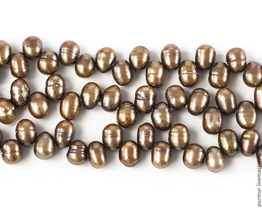 Для украшений ручной работы. Ярмарка Мастеров - ручная работа. Купить 1211_Жемчуг 6 х 5 мм, Культивированный жемчуг,Светло-коричневый жемчуг. Handmade.