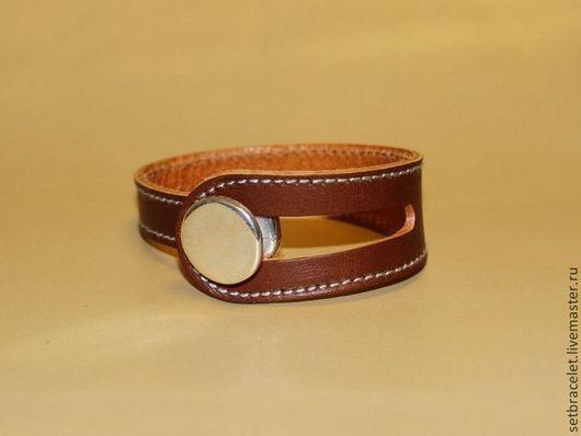 Браслеты ручной работы. Ярмарка Мастеров - ручная работа. Купить Кожаный браслет из кожи широкой коричневый. Handmade. Черный