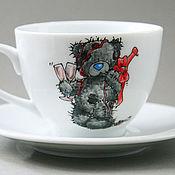 """Посуда ручной работы. Ярмарка Мастеров - ручная работа Чайная пара """"Мишки Тедди"""" (0139). Handmade."""
