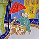 Город ручной работы. Панно «Прогулка с Котом». Тёплый Кот. Интернет-магазин Ярмарка Мастеров. Вечер, синий, глазурь, зонт