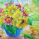 Картины цветов ручной работы. Ярмарка Мастеров - ручная работа. Купить Картина Летний солнечный букет Холст Акрил Размер 30х30 см. Handmade.