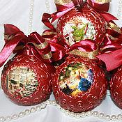 """Подарки к праздникам ручной работы. Ярмарка Мастеров - ручная работа Елочные шары """"Рождественские забавы"""" 6 штук. Handmade."""