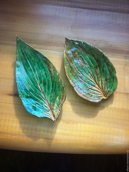 Тарелки ручной работы. Ярмарка Мастеров - ручная работа. Купить Керамические тарелочки-листья. Handmade. Тёмно-зелёный, лист, листик