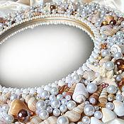 """Для дома и интерьера handmade. Livemaster - original item Зеркало в раме """"Морская жемчужница 60"""" круглое настенное. Handmade."""