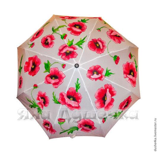 """Зонты ручной работы. Ярмарка Мастеров - ручная работа. Купить Зонт с ручной росписью """"Маки"""". Handmade. Белый, женский зонт"""