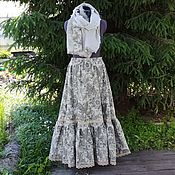 Одежда ручной работы. Ярмарка Мастеров - ручная работа №190 Льняная юбка с шарфом. Handmade.