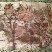 Аксессуары ручной работы. Ярмарка Мастеров - ручная работа Шелковый шарф Эко принт N1. Handmade.