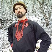 Русский стиль handmade. Livemaster - original item Medieval shirt Black Falcon; shirt with embroidery. Handmade.