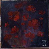 """Картины и панно ручной работы. Ярмарка Мастеров - ручная работа Картина маслом """"Маки"""" (ночь). Handmade."""