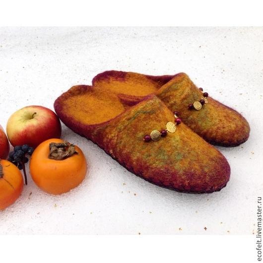 Обувь ручной работы. Ярмарка Мастеров - ручная работа. Купить Тапочки - Индийские Прянности. Handmade. Тапочки ручной работы, натуральный