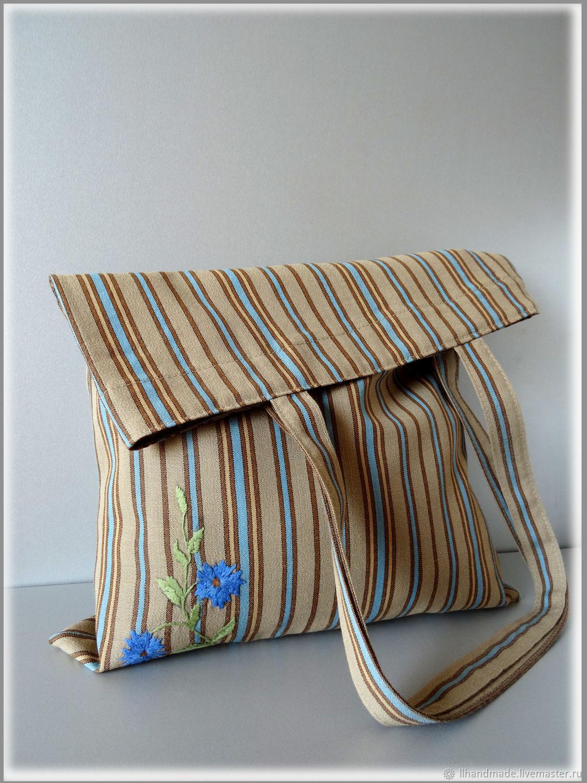 "Эко-сумка ""Синие цветы"" - ручная вышивка, авоська, Авоська, Рязань,  Фото №1"