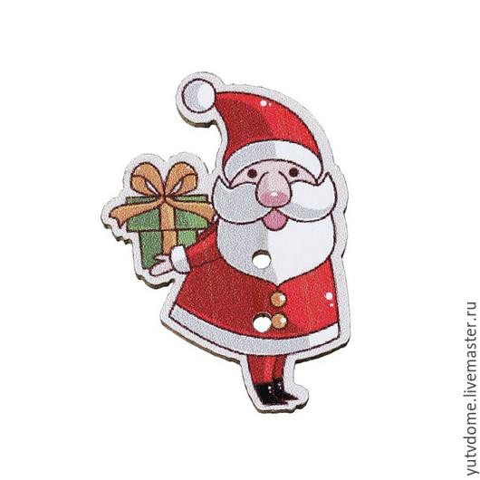 """Шитье ручной работы. Ярмарка Мастеров - ручная работа. Купить 0488 Пуговицы деревянные """"Дед Мороз"""". Handmade. Дерево"""