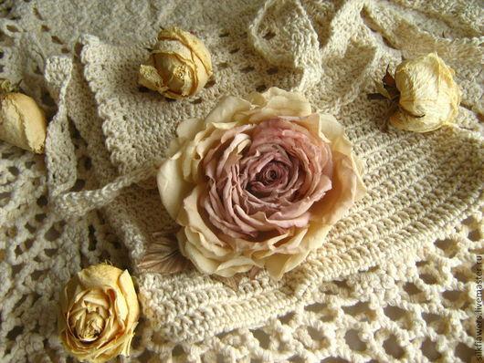 Броши ручной работы. Ярмарка Мастеров - ручная работа. Купить Кремовая роза. Handmade. Бежевый, брошь, цветы из ткани