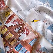 Аксессуары ручной работы. Ярмарка Мастеров - ручная работа Снежная кошка - шелковый платок с ручной росписью (батик). Handmade.