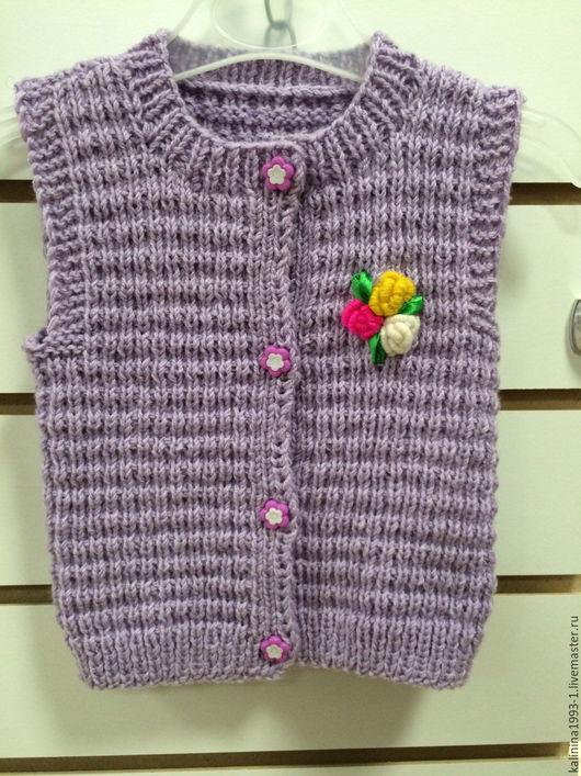 Одежда для девочек, ручной работы. Ярмарка Мастеров - ручная работа. Купить Жилетка. Handmade. Сиреневый, атласные ленты, спицы