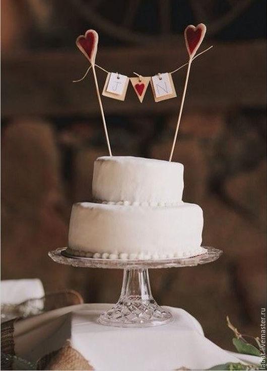 """Свадебные аксессуары ручной работы. Ярмарка Мастеров - ручная работа. Купить Топпер для торта """"Рустик"""". Handmade. Топпер для торта"""