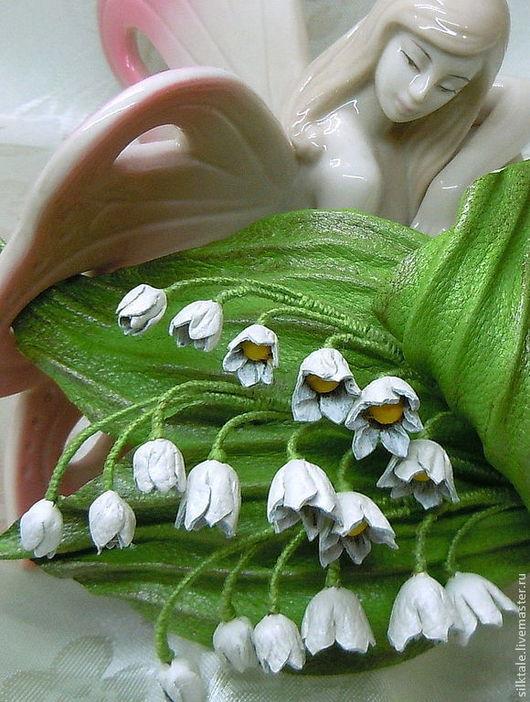 """Броши ручной работы. Ярмарка Мастеров - ручная работа. Купить Брошь из кожи """"Весна идет!""""  Ландыши из кожи. Handmade. Белый"""