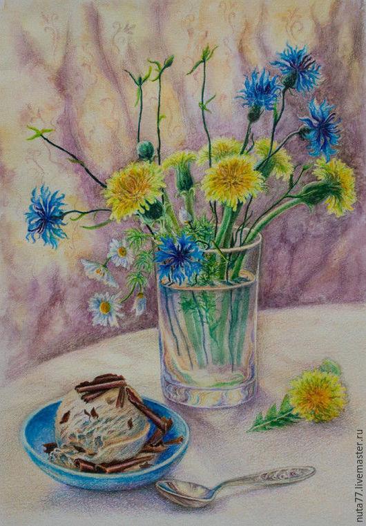 """Натюрморт ручной работы. Ярмарка Мастеров - ручная работа. Купить Акварель """"Летнее настроение"""". Handmade. Комбинированный, жара, васильки, цветы"""