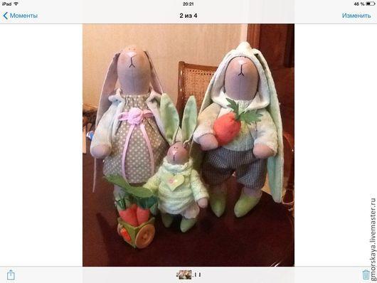 Куклы Тильды ручной работы. Ярмарка Мастеров - ручная работа. Купить Семья зайцев. Handmade. Мятный, игрушка ручной работы