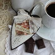"""Для дома и интерьера ручной работы. Ярмарка Мастеров - ручная работа Подвеска-сердце """"Шоколад"""". Handmade."""