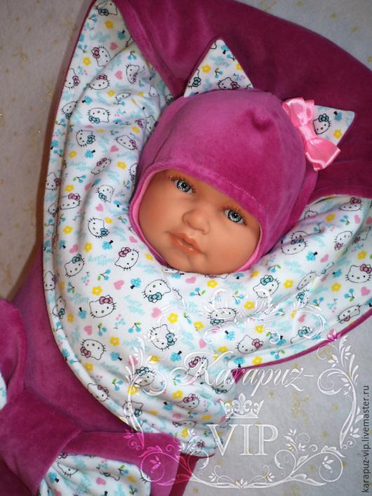 """Для новорожденных, ручной работы. Ярмарка Мастеров - ручная работа. Купить Комплект на выписку """"Китти"""". Handmade. Разноцветный, комбинезон для малыша"""