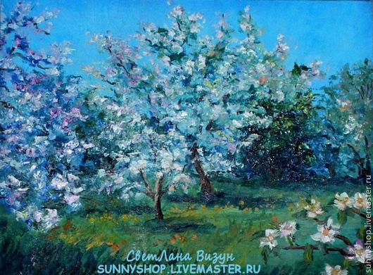 """Пейзаж ручной работы. Ярмарка Мастеров - ручная работа. Купить Картина маслом """"Цветущий сад"""" в раме (пейзаж). Handmade."""