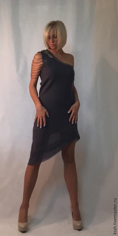 """Платья ручной работы. Ярмарка Мастеров - ручная работа. Купить Платье асимметричное валяное """"Миражные очертания"""". Handmade. Серый, нунофелтинг"""