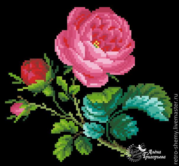"""Схема вышивки """"Старинная роза"""""""