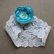 Свадебный салон ручной работы. Ярмарка Мастеров - ручная работа Свадебная подвязка невесты бирюзовая ручной работы. Handmade.