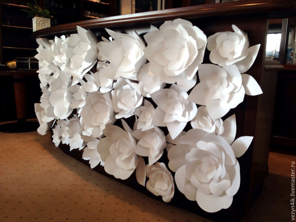 Белый большой цветок своими руками