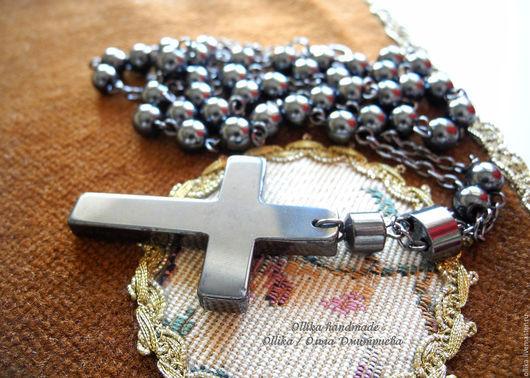 Гематитовый крест на цепочке гематитовый крестик, подарок мужчине, украшение для мужчины, украшение для женщины, подарок любимому, мужские бусы, мужское колье, черный крест, крестик на цепочке, катол