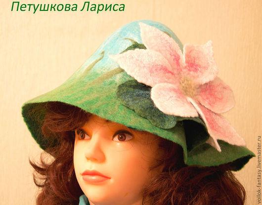 """Банные принадлежности ручной работы. Ярмарка Мастеров - ручная работа. Купить Банная шапочка """"Нимфея"""". Handmade. Банная шапка"""
