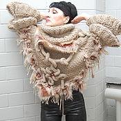 Одежда ручной работы. Ярмарка Мастеров - ручная работа СВИТЕР- НАКИДКА из шерсти и меха. Handmade.