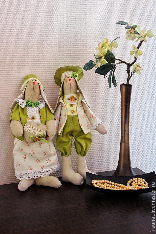Куклы Тильды ручной работы. Ярмарка Мастеров - ручная работа. Купить Семейная ретро-пара в нежно-салатовой гамме. Handmade.