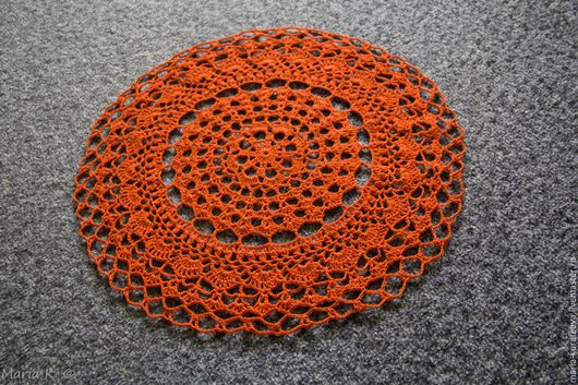 Текстиль, ковры ручной работы. Ярмарка Мастеров - ручная работа. Купить Салфетка яркая. Handmade. Рыжий, салфетка ажурная