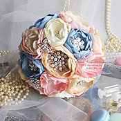 Свадебный салон handmade. Livemaster - original item Wedding Brooch bouquet , blue and pink brooch bouquet.. Handmade.
