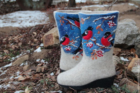 Обувь ручной работы. Ярмарка Мастеров - ручная работа. Купить Валенки Снегири сделаны на заказ. Handmade. Белый, снегири