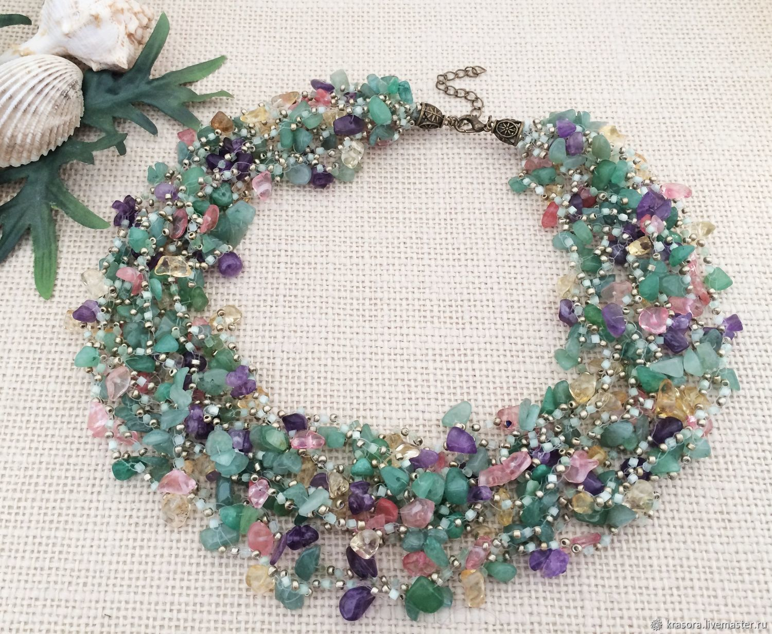Necklace green jade purple amethyst rose quartz yellow citrine, Necklace, Moscow,  Фото №1