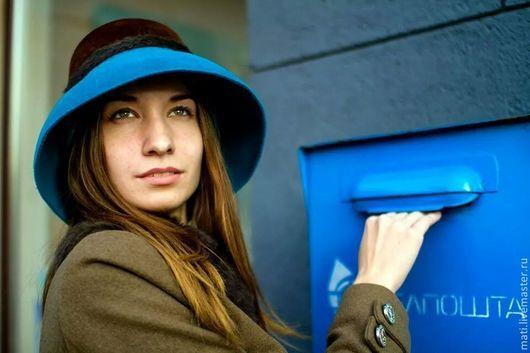 """Шляпы ручной работы. Ярмарка Мастеров - ручная работа. Купить шляпа """"Италия"""". Handmade. Велюр, шляпа с полями"""