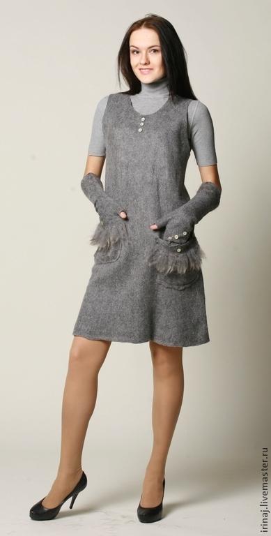 """Платья ручной работы. Ярмарка Мастеров - ручная работа. Купить платье-сарафан  """"Gray"""". Handmade. Платье, платье войлочное"""