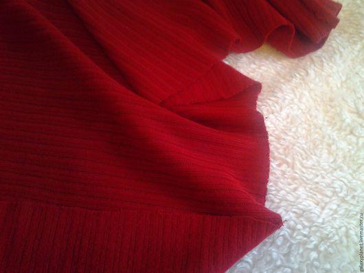 """Шитье ручной работы. Ярмарка Мастеров - ручная работа. Купить Ткань вязаная рельефная """"Темный алый"""". Handmade. Ярко-красный"""