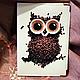 """Обложки ручной работы. Ярмарка Мастеров - ручная работа. Купить обложка """"Кофейная сова"""". Handmade. Натуральная кожа, кожаная обложка"""