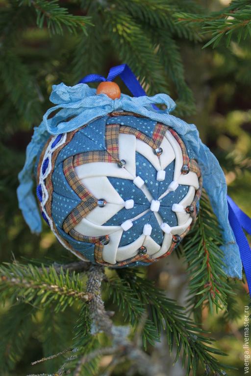 Подвески ручной работы. Ярмарка Мастеров - ручная работа. Купить Елочный шар (текстильное интерьерное украшение). Handmade. Синий